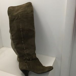 Over the knee olive green suede boots
